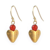 Bactrian Heart Earrings with Carnelian - Museum Shop Collection - Museum Company Photo