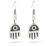 Hamsa Hand Earrings-silver finish - Museum Shop Collection - Museum Company Photo