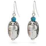 Scarab & Turquoise earrings, silver finish - Museum Shop Collection - Museum Company Photo