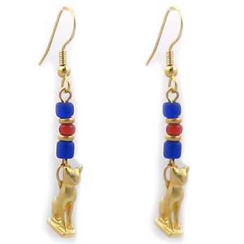 Cat Amulet with Ancient Beads Earrings - Museum Shop Collection - Museum Company Photo