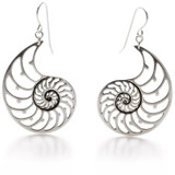 Nautilus Shell Earrings, silver plated - Museum Shop Collection - Museum Company Photo