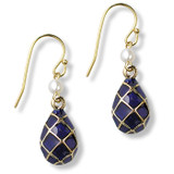 Imperial Blue Argyle Egg Earrings - Museum Shop Collection - Museum Company Photo