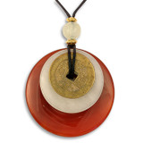 Carnelian Bi Disc with Ancient I-Ching Coin - Museum Shop Collection - Museum Company Photo