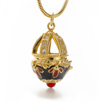 Jeweled Basket Egg Pendant, gold finish - Museum Shop Collection - Museum Company Photo