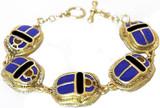 Enameled 5-Scarab bracelet, blue - Museum Shop Collection - Museum Company Photo