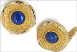 Byzantine cufflinks with Lapis, elegant cufflink backs - Museum Shop Collection - Museum Company Photo