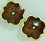 """Parrish's """"Chocolate Factory"""" enameled post earings, cinnabar - Museum Shop Collection - Museum Company Photo"""