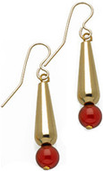 Egyptian small tear-drop gold-plate earrings with Carnelian. Gold-filled ear-wires. - Museum Shop Collection - Museum Company Photo