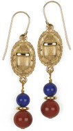 Scarab earrings with Lapis & Carnelian - Museum Shop Collection - Museum Company Photo
