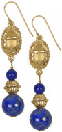 Scarab earrings with Lapis beads - Museum Shop Collection - Museum Company Photo