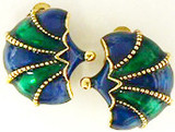 Faberge inspired Fan clip earrings, green/blu - Museum Shop Collection - Museum Company Photo