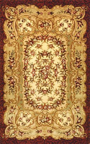 Savonnerie Gold Burgundy Rug Persian Tufted