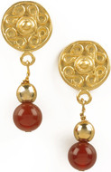 Pre Columbian Golden & Carnelian earrings - Museum Shop Collection - Museum Company Photo