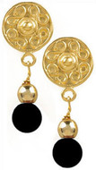 Pre Columbian Golden & Onyx earrings - Museum Shop Collection - Museum Company Photo