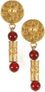 Pre Columbian Tolima Roller Seal earrings, Carnelian - Museum Shop Collection - Museum Company Photo