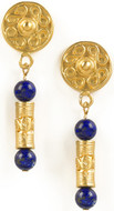 Pre Columbian Tolima Roller Seal earrings, Lapis - Museum Shop Collection - Museum Company Photo