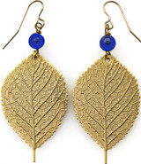 Leaf earrings with lapis beads - Museum Shop Collection - Museum Company Photo