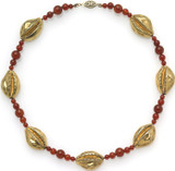 """16"""" Egyptian necklace with 7 solid Cowrie shells and carnelian beads. - Museum Shop Collection - Museum Company Photo"""