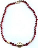 """16"""" Egyptian necklace with carnelian, cowrie shell and beans - Museum Shop Collection - Museum Company Photo"""