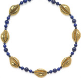 """16"""" Egyptian necklace with Cowrie shells and lapis beads. - Museum Shop Collection - Museum Company Photo"""