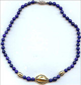 """16"""" Egyptian necklace with Lapis, cowrie shell and beans - Museum Shop Collection - Museum Company Photo"""