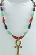 """16"""" Multi-color Egyptian necklace, Ankh center - Museum Shop Collection - Museum Company Photo"""