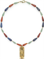 "16"" Multi-color Egyptian necklace, Cartouche center - Museum Shop Collection - Museum Company Photo"