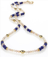 Egyptian genuine Lapis and Freshwater Pearl necklace - Museum Shop Collection - Museum Company Photo