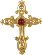 """Victorian cross pendant with garnet cabochon, 16"""" chain - Museum Shop Collection - Museum Company Photo"""