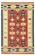 Nara Vista - Brick / Tan Rug : Wool Flat Weave Collection - Photo Museum Store Company