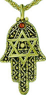"Judaic symbol ""Hamsa"" pendant, 16"" chain - Museum Shop Collection - Museum Company Photo"