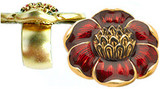 Ring with enameled floral motif, red - Museum Shop Collection - Museum Company Photo