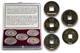 Genuine China 5 Dynasties: Twenty Centuries of Cash Coins Clear Box  : Authentic Artifact - Museum Company Photo