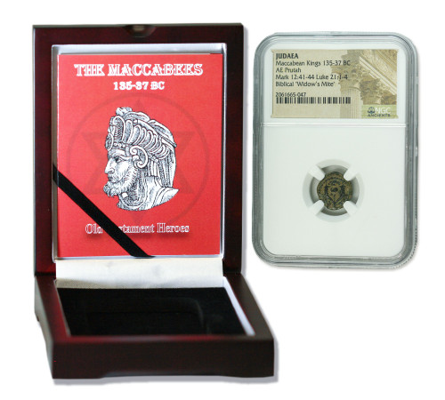 Genuine Maccabean (Biblical Widows Mite) Bronze Prutah NGC Certified Slab Box (High grade) : Authentic Artifact - Museum Company Photo