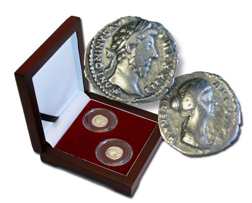 Genuine Marcus Aurelius Box: The Philosopher Emperor, 2 Silver Coins : Authentic Artifact - Museum Company Photo