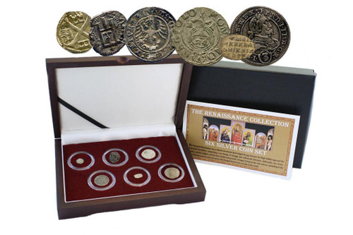 Genuine Renaissance Era Box: 6 Silver European Coins  : Authentic Artifact - Museum Company Photo