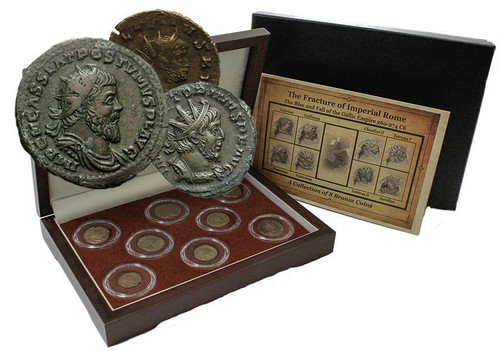 Genuine The Fracture of Imperial Rome: Gallic Empire, a Box of 8 Bronze Coins  : Authentic Artifact - Museum Company Photo