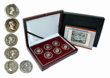 Genuine The Good Emperors of Ancient Rome: Box of 6 Silver Roman Coins  : Authentic Artifact - Museum Company Photo