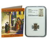 Genuine Widow's Mite Judaea Bronze Prutah NGC Certified Slab Clear Box (Premium Grade) : Authentic Artifact - Museum Company Photo