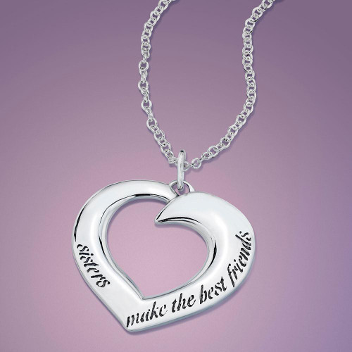 Sisters make the best friends sterling silver necklace sisters make the best friends sterling silver necklace inspirational jewelry photo mozeypictures Images