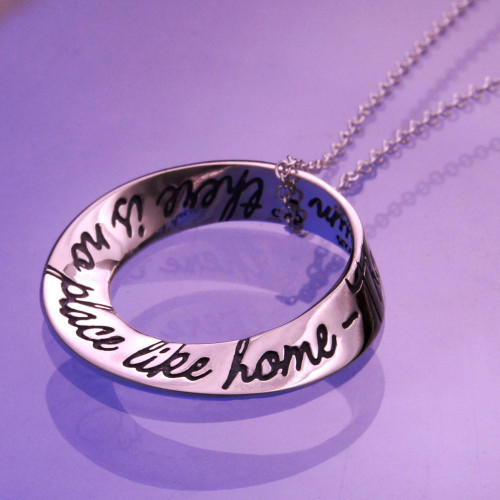 No Place Like Home Small Sterling Silver Necklace - Inspirational Jewelry Photo