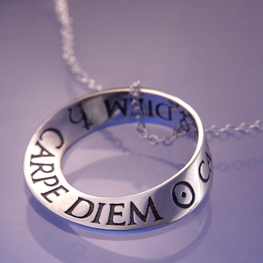 Carpe diem sterling silver necklace inspirational jewelry aloadofball Choice Image