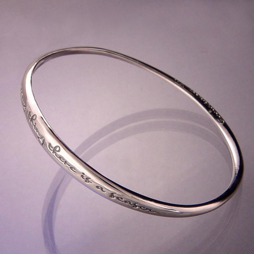 To Everything There Is A Season Sterling Silver Bangle - Inspirational Jewelry Photo