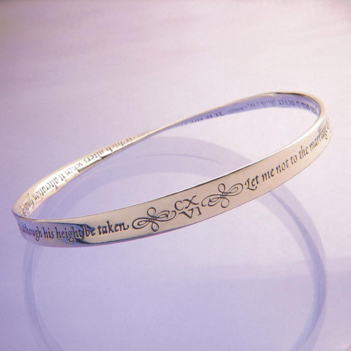 Shakespeare Sonnet Sterling Silver Bracelet - Inspirational Jewelry Photo