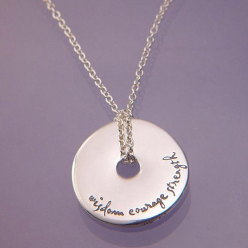 Wisdom Courage Strength Sterling Silver Necklace - Inspirational Jewelry Photo