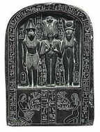 The Sacred Triad Osiris, Isis and Horus - Louvre Museum, Paris  1450 B.C. - Photo Museum Store Company