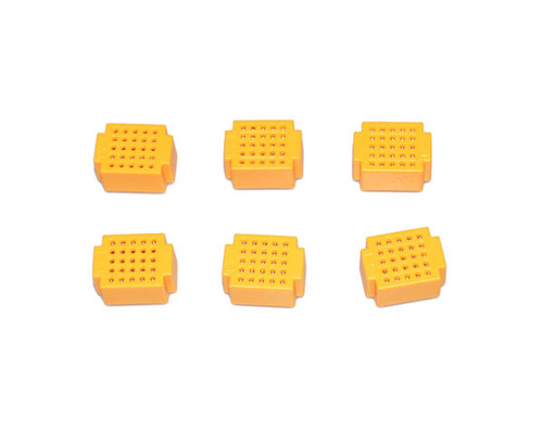 6 x Breadboard of 25 holes for Combined Breadboards: Yellow