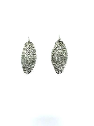 Woven Hand Knit Silver Pod Earrings BLE39S