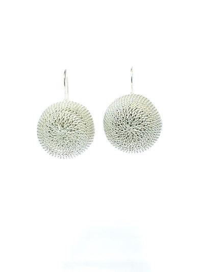 Woven Hand Knit Silver Sphere Earrings XL BLE44ASXL