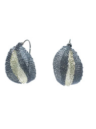 Woven Hand Knit Two Tone Leaves Earrings BLE334NB